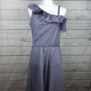 Vintage Blue Gingham One Shoulder Midi Dress